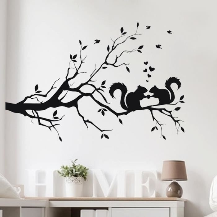 Cureuil sur l 39 arbre long branch wall sticker animaux chats art d calcomanie enfants d coration - Stickers branche d arbre ...