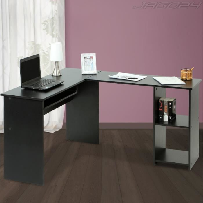 bureau d 39 angle table d 39 ordinateur noir achat vente bureau bureau d 39 angle table cadeaux de. Black Bedroom Furniture Sets. Home Design Ideas