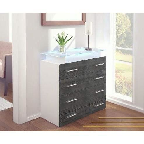 commode blanc et anthracite 76 cm plateau en verre achat vente commode semainier commode. Black Bedroom Furniture Sets. Home Design Ideas