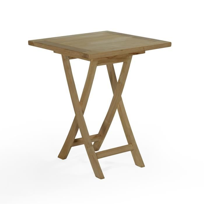 Table pliante carr en teck ecograde bistrot 60 x 60 cm - Table de bridge pliante ...