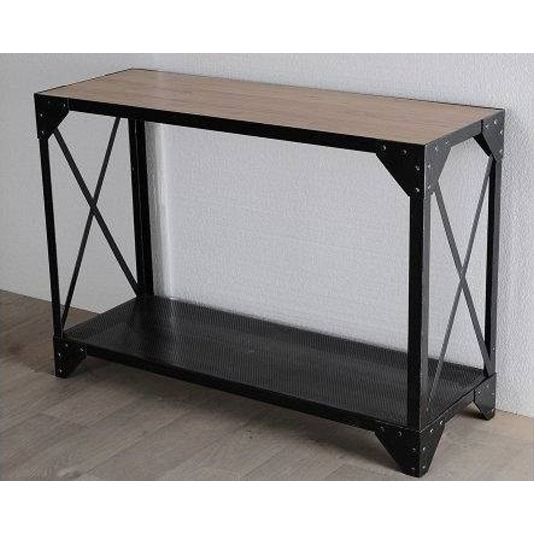 console loft design metal noir et chene achat vente console console loft design metal n. Black Bedroom Furniture Sets. Home Design Ideas