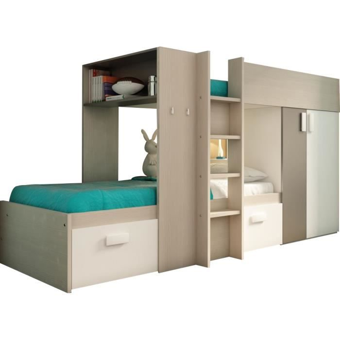 lit superpos enfant ultra moderne 90x200 coloris bois. Black Bedroom Furniture Sets. Home Design Ideas
