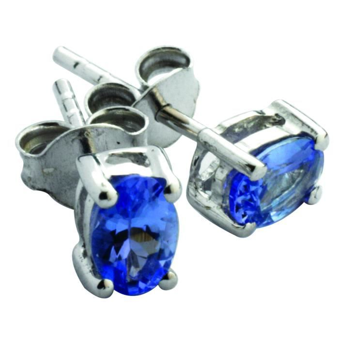 Anderson & Webb - Clous doreille - tanzanite/argent sterling 925 - 6 x 4 mm