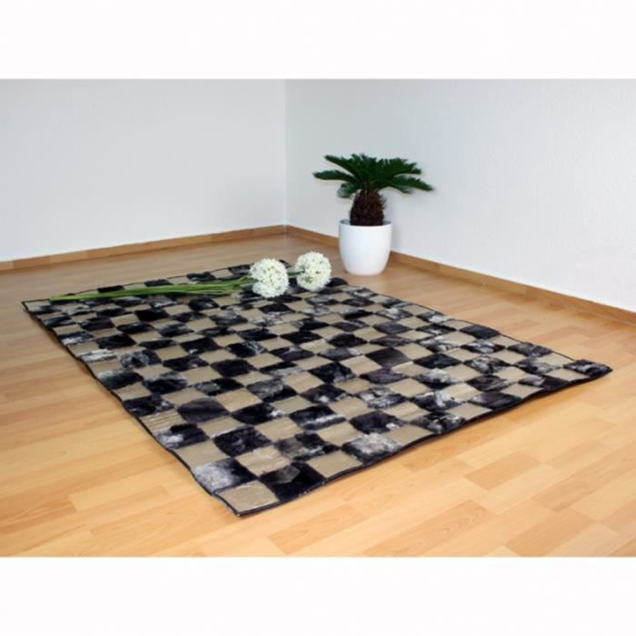 tapis carr cuir 160 x 230 cm achat vente tapis cdiscount. Black Bedroom Furniture Sets. Home Design Ideas
