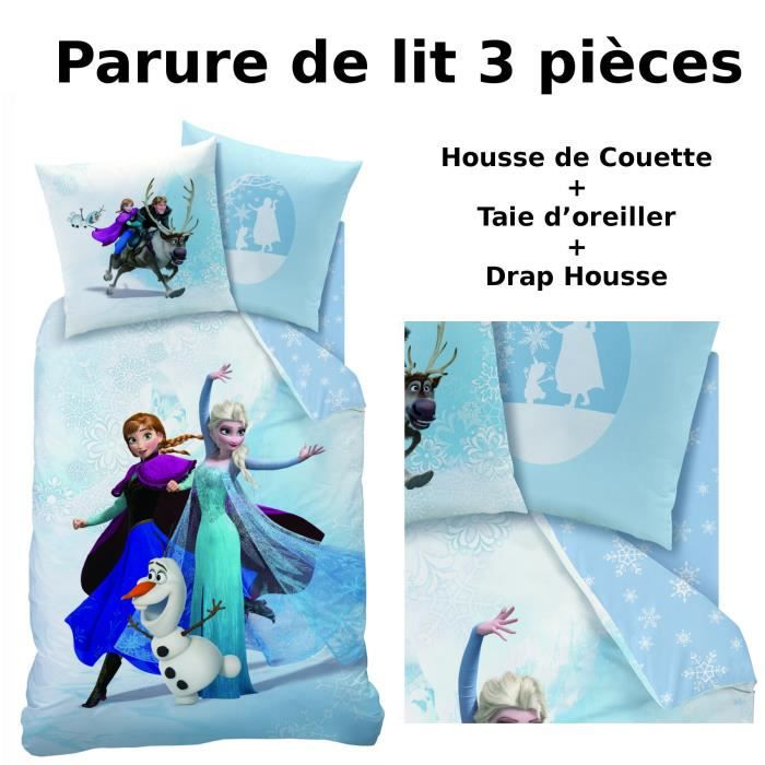 reine des neiges parure de lit 3pcs housse de couette 140x200 taie d 39 oreiller 63x63. Black Bedroom Furniture Sets. Home Design Ideas