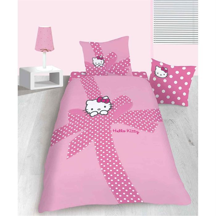 parure de couette hello kitty plumetis 140x200cm achat. Black Bedroom Furniture Sets. Home Design Ideas
