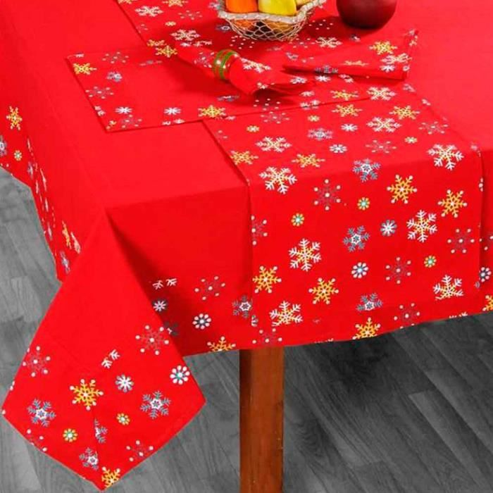 nappe de table no l imprim flocons de neige rouge achat vente nappe de table cdiscount. Black Bedroom Furniture Sets. Home Design Ideas