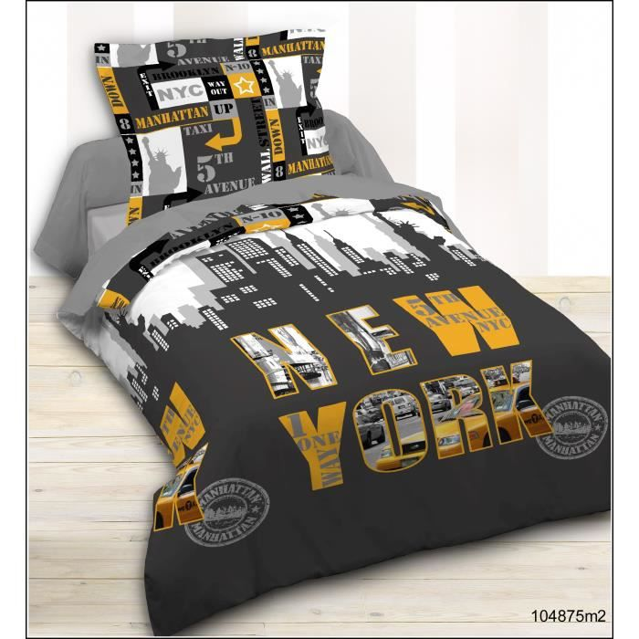 today housse de couette enfant 1 taie new york achat. Black Bedroom Furniture Sets. Home Design Ideas