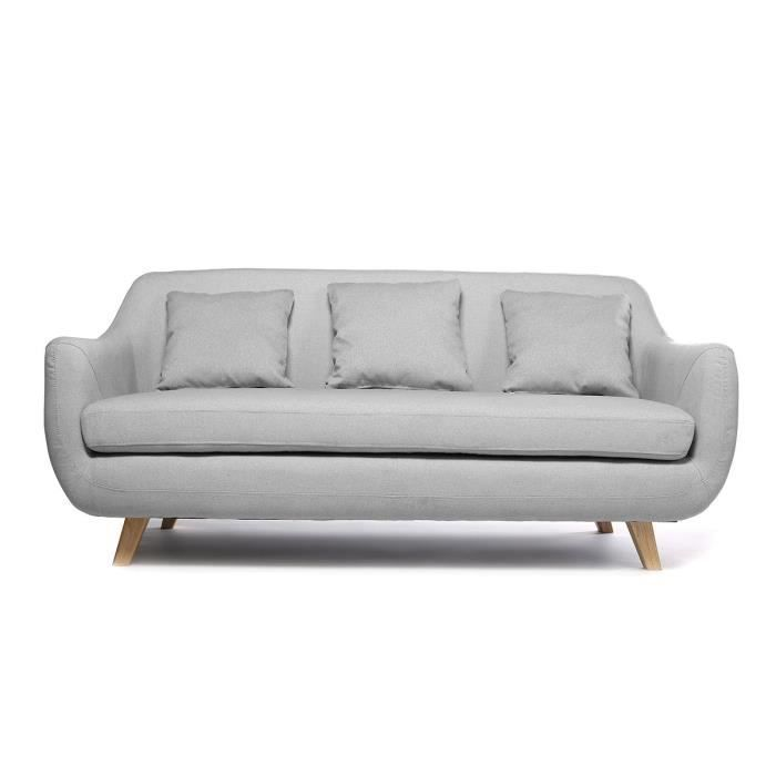 miliboo canap design scandinave 3 places gri achat vente canap sofa divan polyester. Black Bedroom Furniture Sets. Home Design Ideas