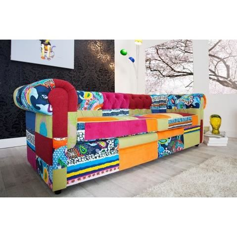 canape chesterfield patchwork 3 places achat vente canap sofa divan cdiscount. Black Bedroom Furniture Sets. Home Design Ideas