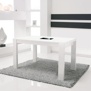 Table a manger blanc laque avec allonge achat vente for Taille table a manger