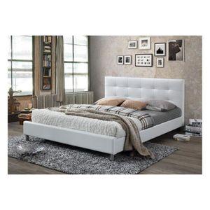 STRUCTURE DE LIT lit blanc avec tête de lit capitonnée 160 eva decl