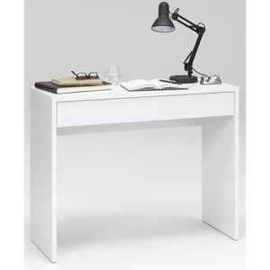 bureau console blanc achat vente bureau console blanc pas cher cdiscount. Black Bedroom Furniture Sets. Home Design Ideas
