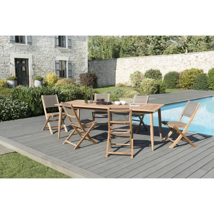 Ensemble de jardin en teck: 1 table à manger, pieds scandinaves, 220 x 100 cm - 3 lots de 2 chaises pliantes en textilène JARDITECK