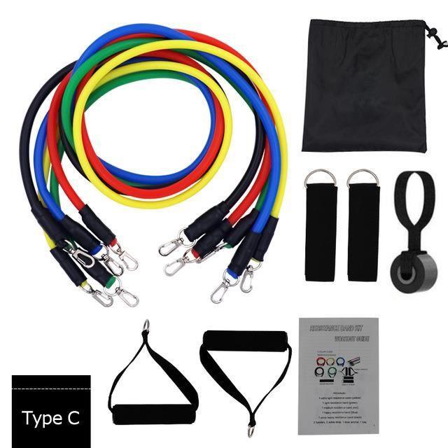 11 ensembles de corde élastique TPE latex tendeur fitness pull corde costume formation ceinture bras force fitness corde