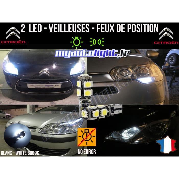 Ampoules Feux de position LED - Citroen C3 II- W5W blanc Xénon
