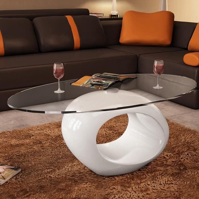 P132 Table basse de salon en verre avec pied blanc laque