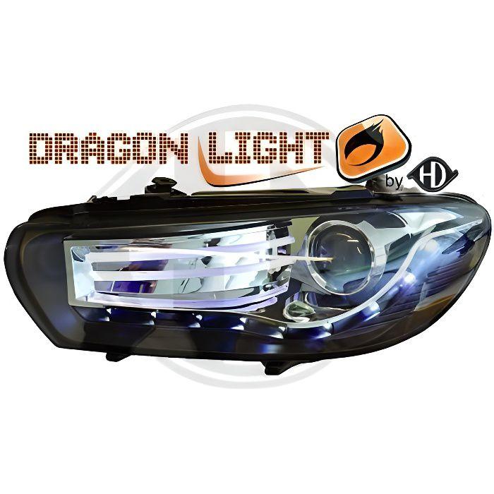 2251285 , Paire de Feux Phares Daylight LED noir pour VW Scirocco de 2008 a 2014