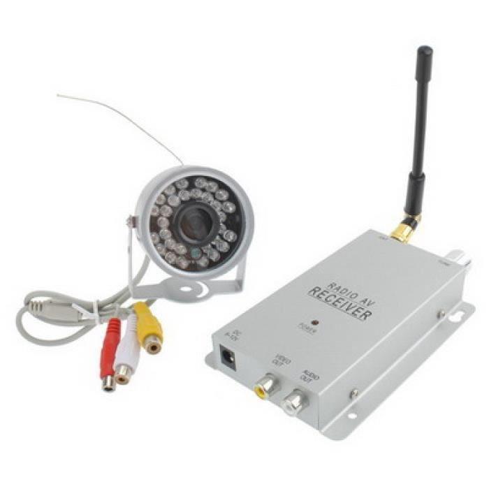 Kit Camera De Surveillance - Pack Videosurveillance - Caméra CCTV de sécurité de couleur sans fil 30 LED récepteur (Argent)
