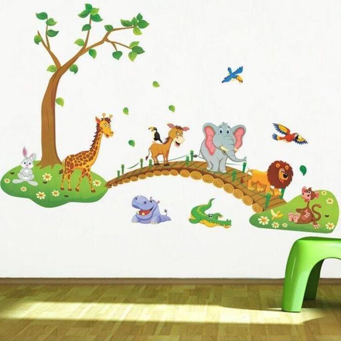 Stickers Muraux En 3d Motif Animal Sauvage Dessin Animé Motif Jungle Pont Lion Girafe Éléphant Oiseaux Fleurs Pour Chambre