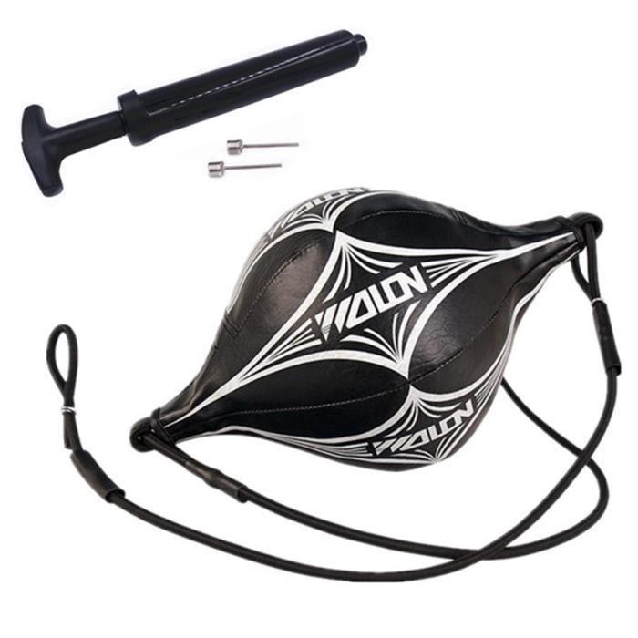Sac de frappe,Boxe vitesse balle avec gonfleur gourde crochet poire Double fin boxe balle pour Muay Thai boxe - Type Black