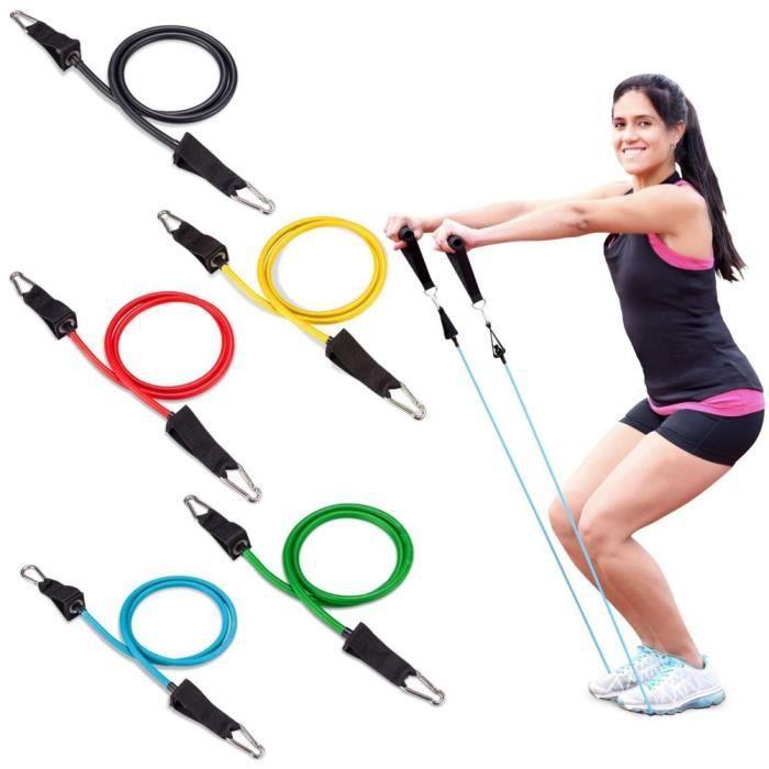 Bande de résistance elastiques 11 pcs tubes en latex pédalier entraînement du corps entraînement exercices de fitness