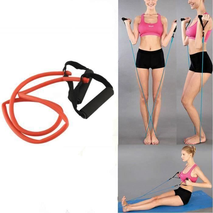 Élastique de résistance câble force fitness musculation 1.4M en latex de caoutchouc Rouge FR73913