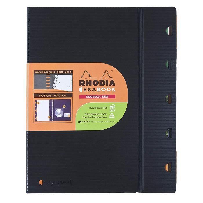 Rhodia 132572C - Un Exabook comprenant un cahier spirale 160 Pages perforées 16x21 cm petits carreaux avec cadre, 5 intercalaires