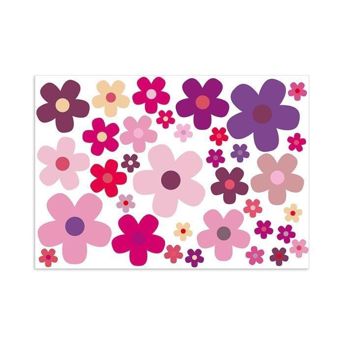 'Set -Fleurs Fleurs, Violet, A4 Stickers décoratifs, n ° art. voiture _ 242, Violet Couleurs, Violet, Rose, Rose, außenklebend po