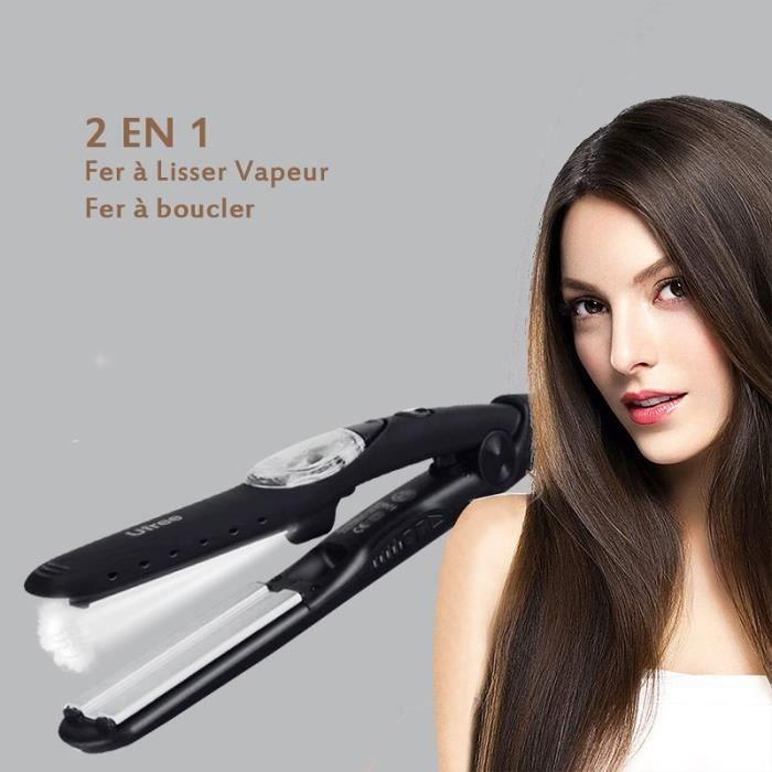 Lisseur Vapeur,2en1 Fer à Lisser Vapeur,Lisseur Cheveux/Boucleur Professionnel,5 Niveaux de Température pour le Soin des Cheveux