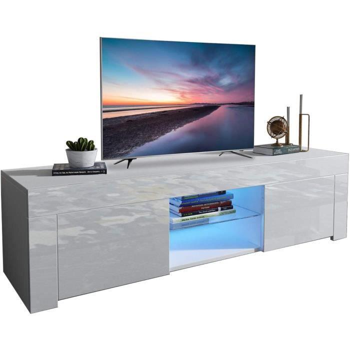 Dripex Meuble TV LED Contemporain Blanc Brillant 135 * 33,5 * 70 cm avec 2 grandes portes 1 petite porte 2 étagère de rangement