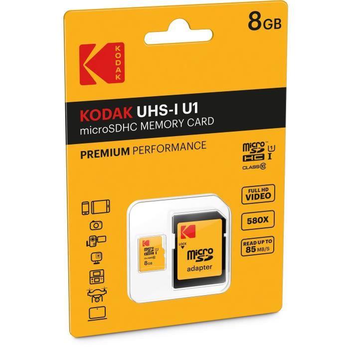Kodak Class10 U1 Carte mémoire Microsdhc 8 Gb Avec adaptateur