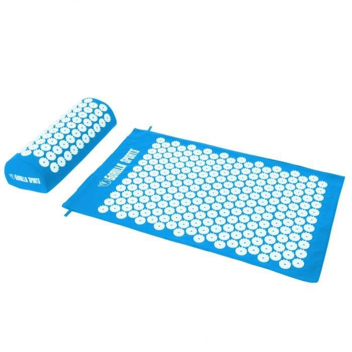 Tapis d'acupression avec coussin et sac de transport - tapis de fakir - tapis de massage - 68 x 42 x 2,5 cm - Couleur : bleu ciel