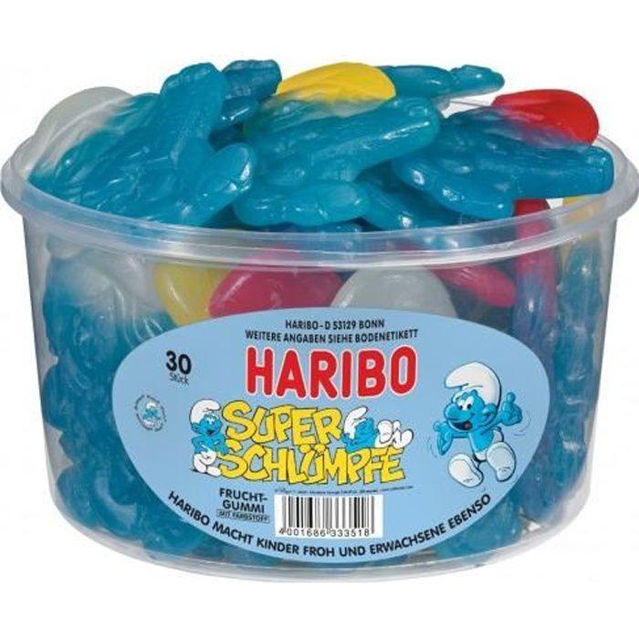 Haribo super Schtroumpfs, gomme de fruits, 30 pc