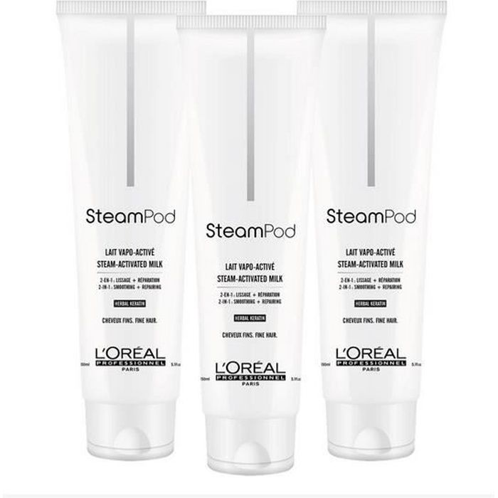 pack trio lait de lissage steampod cheveux fins 150 ml