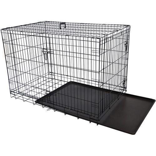 Stocké en Europe !Caisse pour chien en métal de 36 pouces, XL, double portes, cage de chenil pliante à deux portes, assemblage