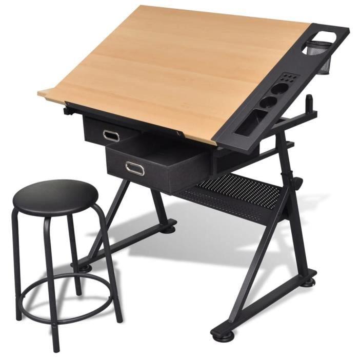 Planche à dessin Table à dessin Table de travail inclinable 2 tiroirs et tabouret