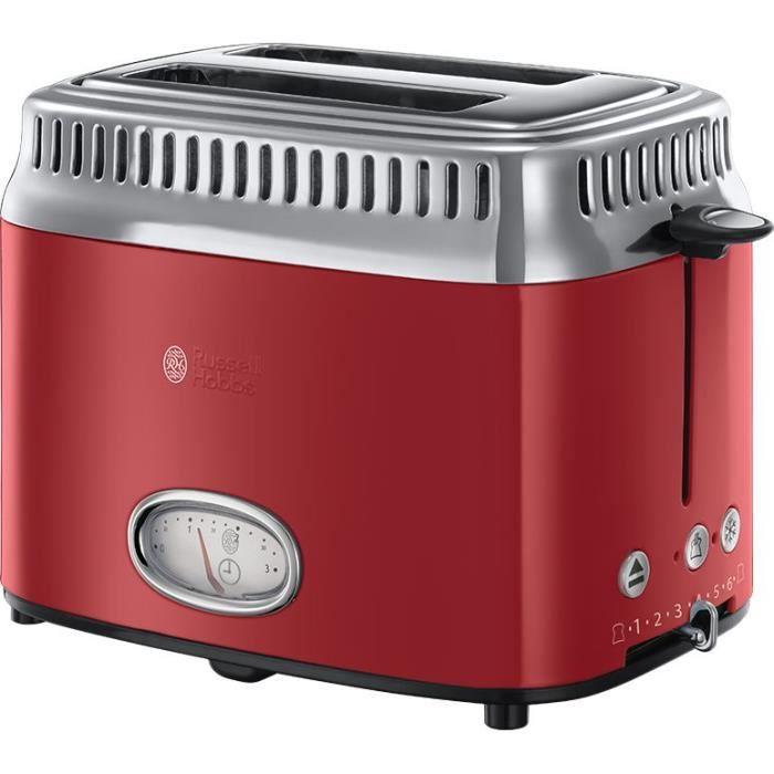 RUSSELL HOBBS 21680-56 Toaster Grille-Pain Rétro Vintage, Température Ajustable, Rapide, Chauffe Viennoiseries Inclus - Rouge