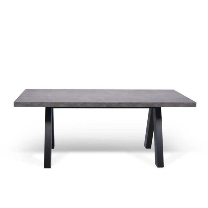 Table de repas rectangulaire Béton ciré/Noir - UBADIO - L 200 x l 100 x H 76
