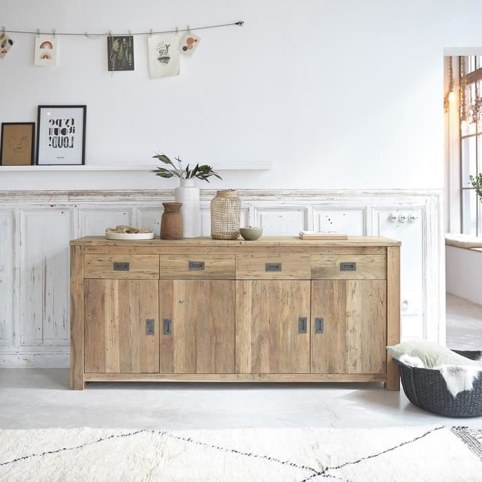 Buffet teck recycle 200cm 4 portes 4 tiroirs achat vente buffet bahut buffet teck - Meuble bois recycle pas cher ...