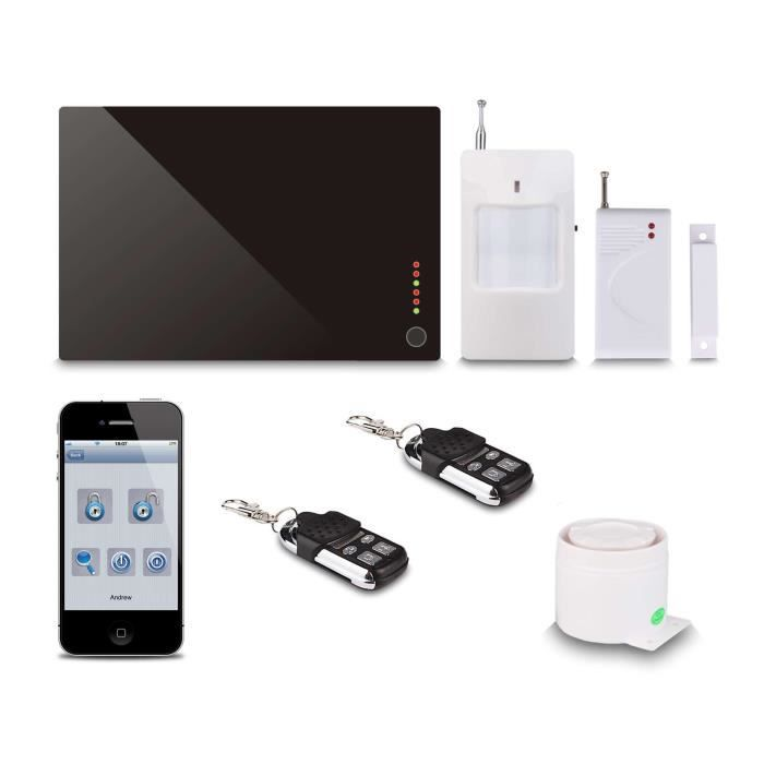kit de surveillance noname alarme sans fil gsm control ble par smartphone noir achat vente. Black Bedroom Furniture Sets. Home Design Ideas