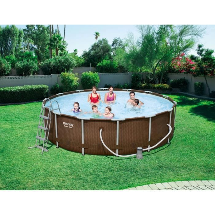 Piscine tubulaire ronde steel frame pools rattan imitation for Piscine tubulaire occasion