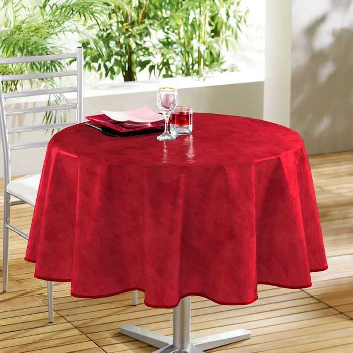 douceur d 39 interieur nappe toile cir e d cor line beton cir 160 cm rouge achat vente nappe. Black Bedroom Furniture Sets. Home Design Ideas