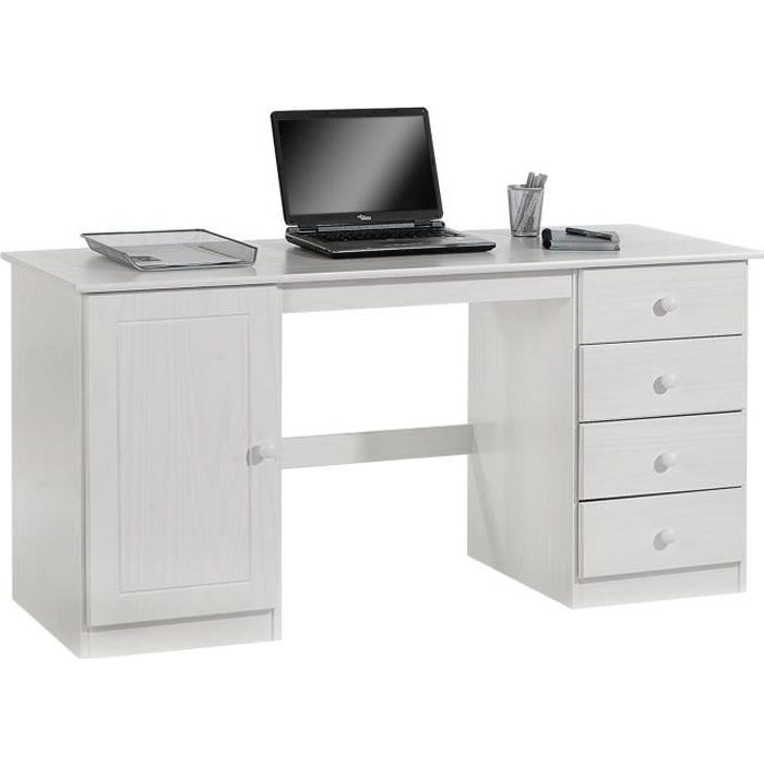 bureau en pin manager lasur blanc achat vente bureau bureau en pin manager lasu. Black Bedroom Furniture Sets. Home Design Ideas