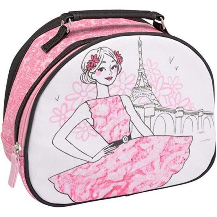 La Chaise Longue 32-V2-103R Vanity case Les parisiennes La romantique Rose Coton enduit PVC Fermeture zip Poign/ée H20 x 12 x 26 cm