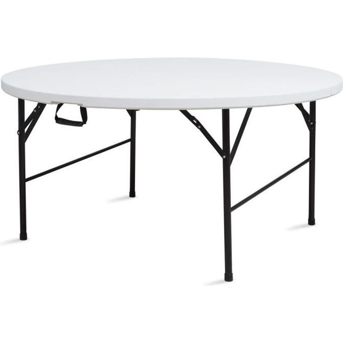 Table ronde pliante jardin 150cm achat vente table de for Table de jardin ronde en resine blanche
