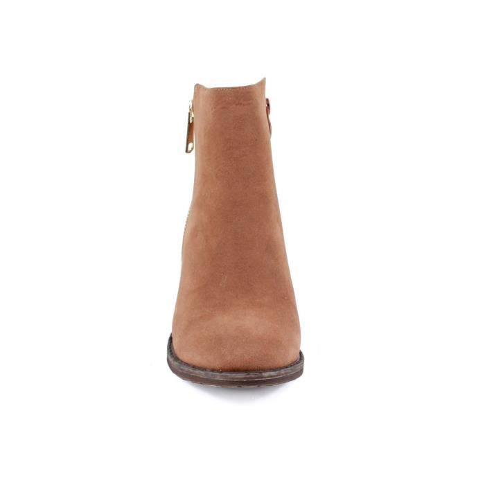 Pama-01 Femmes Talons mode Stacked bottillons cheville - Camel DP5TW Taille-38
