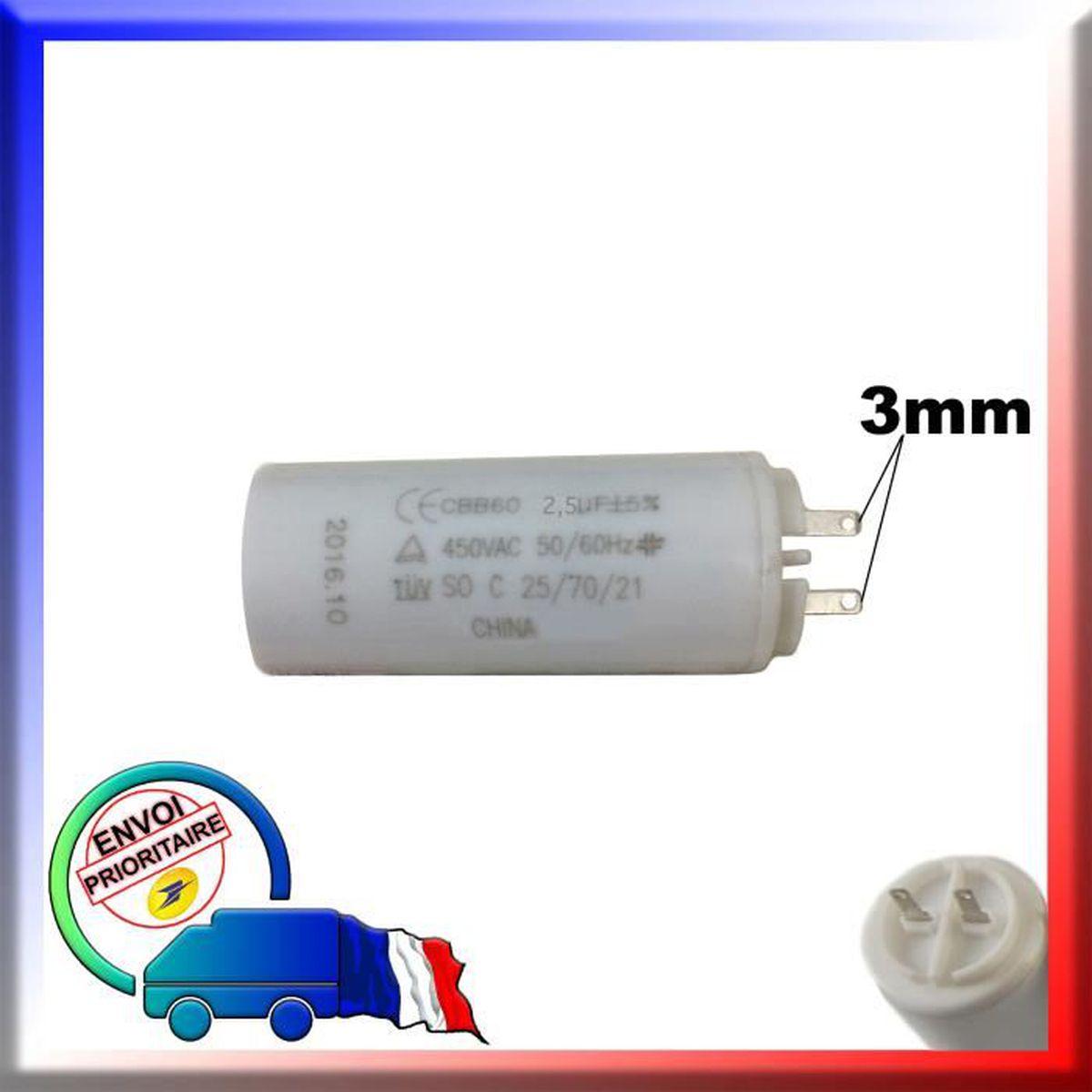 µF pour moteur SOMFY ou SIMU de volet roulant ou store Condensateur de 2.5 uF