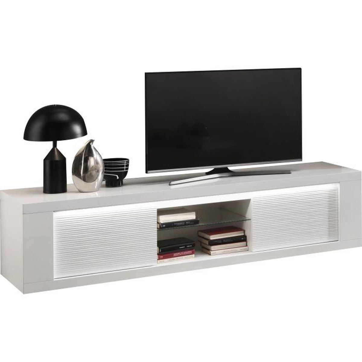 Meuble tv design a 2 portes 195 cm blanc laqu brillant avec clairages blanc - Meuble tv design discount ...