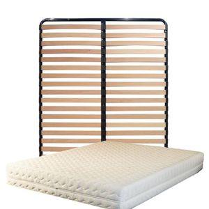 ENSEMBLE LITERIE Matelas 200x200 + Sommier Démonté + pieds + Oreill